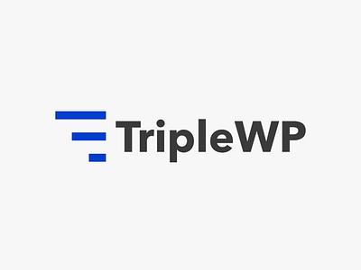 TripleWP - logo illustrator clean blue identity minimal lettering vector typography type logo flat illustration design branding