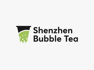 Shenzen Bubble Tea - logo illustrator icon minimal lettering identity typography type logo illustration flat clean vector design branding