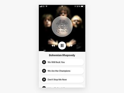 Music Player player music music player queen mobile ios animation app ux ui minimal illustration vector flat clean design