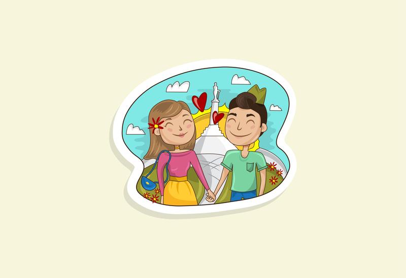Walk in Belgrade young sky monument in love stickers sticker city belgrade kalemegdan boy girl couple dating app colorful vector design illustration drawing love