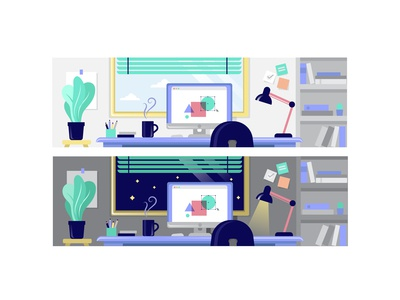 Office Day/Night illustration