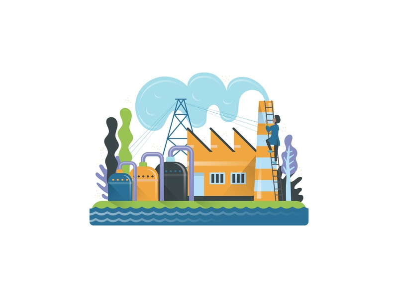 Reuse Water Distribution girl simple factory nature flat vector design illustration drawing industry distribution water reuse