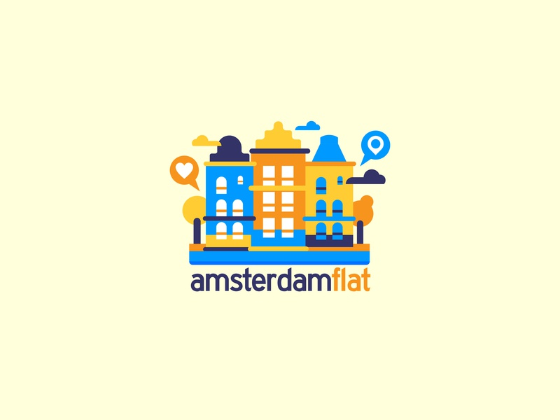 Amsterdam Flat logo rent canal architecture townhouse holland netherlands amsterdam city simple logo flat colorful vector design illustration drawing