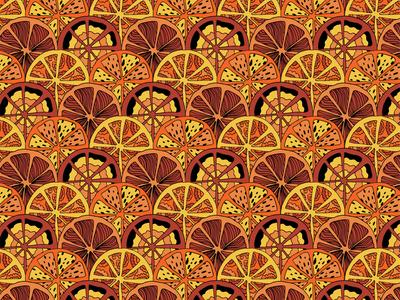 Art deco orange pattern