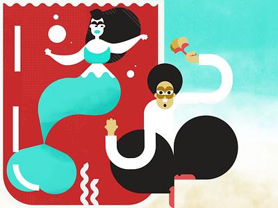 Maymaid mermay vector flat art design illustration