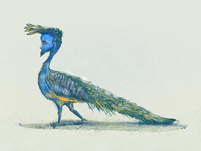 Peacock Man green blue man peacock design procreate art illustration