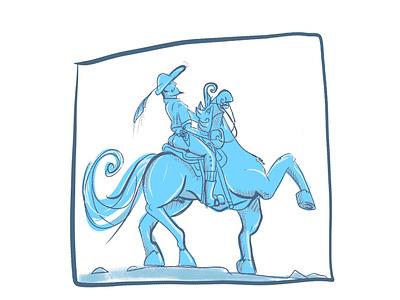 Prince Andrey gallop horseback horse rider war and peace blue vector flat procreate art design illustration