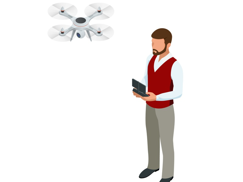 Isometric man with drone quadrocopter, Remote aerial drone with air innovation aircraft background fly vehicle remote concept delivery aerial control icon camera flat technology drone design illustration isometric vector