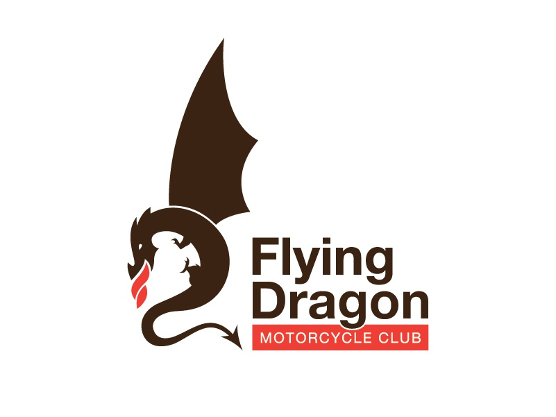 Flying Dragon Motorcycle Club illustration flying dragon riding club motorcycle mark branding logo