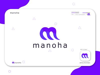 Manoha Logo Branding | M logomark agency digital lettermark minimal abstract colorful geomatric vector corporate creative illustration branding app logo design brand identity modern logo logo design m monogram m letter logo m logomark m logo