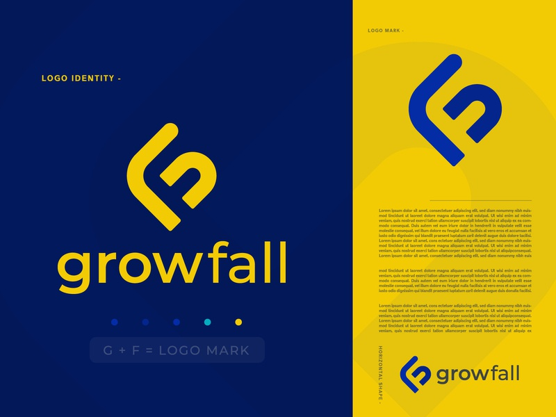 GrowFall Logo branding | GF letter concept ( unused )