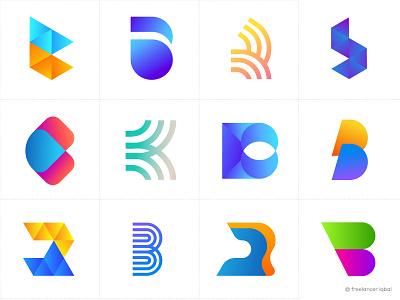 Alphabet Logo Collection - B Letter Logo Bundle b letter logo 2020 logo trends 2020 gradient logo collection gradient abstract typography branding logo branding brand identity modern logo app logo design logo design b letter logo b logo marks