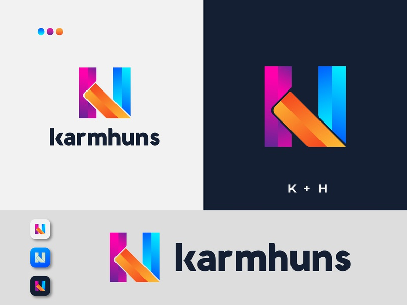 KH modern letter logo design - Modern Logo design best logo designer in dribbble dribbble best shot dribbble colorful logo trends 2020 creative corporate brand identity logotype logo branding logo designer branding app logo design modern logos logo design logo modern logo design modern modern logo
