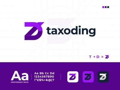 T + D for Taxoding + Modern Logo Design + App Logo d best logo designer dribbble apps creative comapny digital minimal agency gradient logo trends 2020 abstract modern logo brand identity branding logo designer logotype logo design design logo