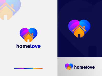HomeLove Logo Design - Love + Home Logo Mark consulting corporate best logo designer graphic design app logo vector gradient abstract home logo real estate logo logo trends 2020 app logo design creative logo designer brand identity logo branding modern logo logo design design logo