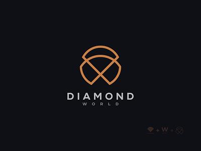 Diamond World Minimal Elegant Logo Design clean concept icon app elegant luxury minimalism minimalist logo minimalist minimal abstract vector logotype logo designer branding typography brand identity logo design design logo