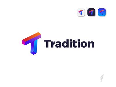 T Modern 3D Logo Design - 3D Logo Design Concept 3d art modern gradient logo concept icon app 3d logo designer abstract corporate modern logo branding brand identity vector logo design design logo