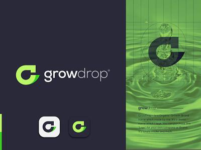 G + Drop Logo Design - G Organic Logo Design - Organic Logo app live biological nature green logo modern logo logo designer brand identity logo design gradient organic logo desgin graphic drop organic growth graphic design g g logo