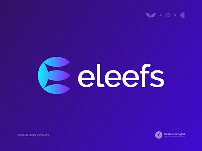 E + Leaf Logo Concept - Unused logo designer branding logo mark vector illustration organic leaf logo e logo e letter e