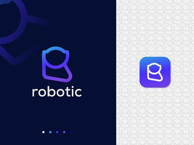 Robot + R Logo Mark - R Robot Logo Concept identity symbol vector creative flat minimal logo modern logo brand identity logo designer logodesign logo design logos branding design logo technology blockchain data robotic robot