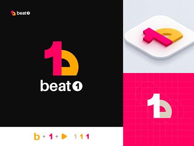 B + 1 + Play Logo Mark - Unused Concept logo designer logo design creative minimal flat modern logo media blockchain branding design logo wave music logo beat studio 1 logo b logo media logo play logo