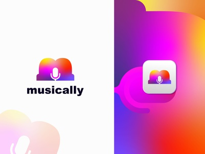 M + Microphone - Music Logo Mark gradient musically beat microphone music logo