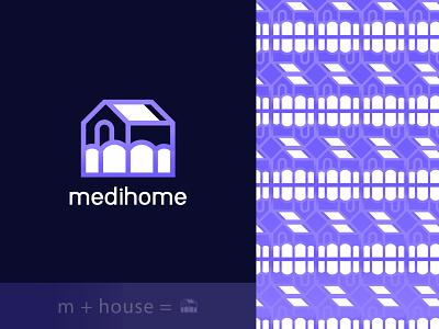 Medihome - M + House icons gradient vector logo designer logo design modern logo brand identity branding logos design logo construction house home m
