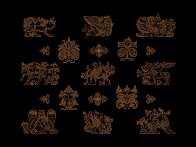 Pattern with old Russian images animals logo outline pattern vector logo icon illustration