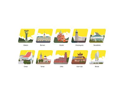 set of icons for Krasticket website barnaul omsk chita bratsk ulan-ude krasnoyarsk tomsk novosibirsk irkutsk abakan town design logo siberia web cities illustraion icon icons
