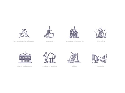 Icons for the tourist site of St. Petersburg