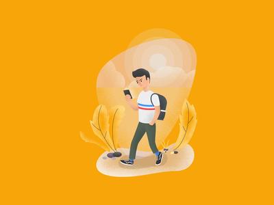 Illustration for the app web ux  ui interaction identity digital painting digital illustration character picture art vector phone walking yellow illustration art graphic app branding design icon illustration