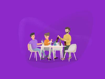 Illustration for the app violet table branding digital illustration digital painting identity characters picture art graphic design ui  ux web vector design illustration