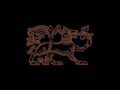 #1 Old russian mythical creature fresco symbol dog vector logo icon design illustration