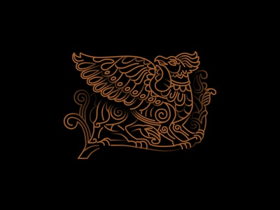 #2 Old russian mythical creature griffin vector logo design icon illustration