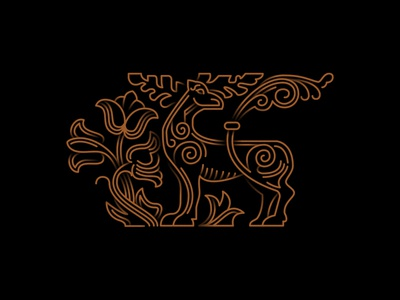 #3 Old russian mythical creature elk symbol vector logo icon illustration