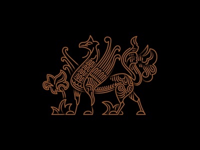#8 Old russian mythical creature fresco outline vector griffin design logo icon illustration