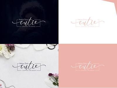 CUTIE Fashion Logo cloth clothing shopping dress model unique me love stylish pink girl fasion brand design logo illustrator logo design