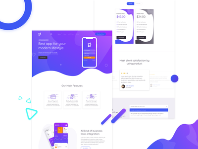 Mobile app landing page free web design mobile app web app design web template ui design flat