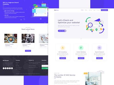 SEO Agency Landing page website ui agency free template web design seo flat landingpage