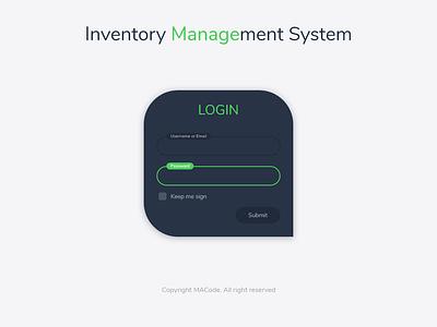 Login Page login screen inventory inventory management ui design web app design web application