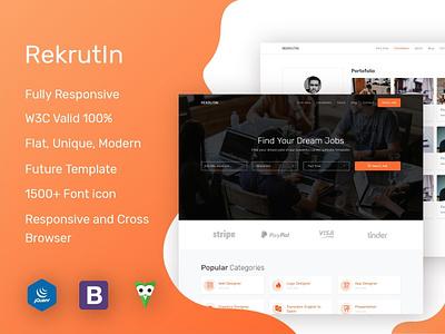Rekrutin - Modern Job Portal ui design flat web template job listing job portal job board