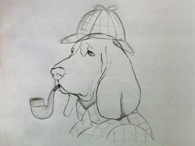 They were the footprints of a gigantic hound! dog sherlock holmes sketch pipe