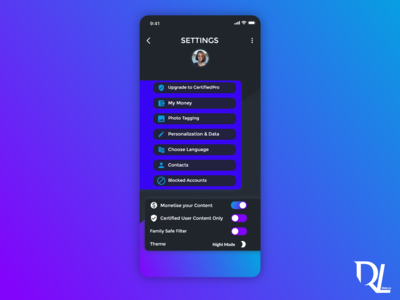 Mobile Settings Screen Design