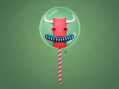 Magic Lollipop With A Taste Of A Wicked Bull bull clay horns lollipop illustration character design