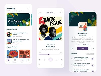 Streamy - Podcast App Concept popular shot audio podcasting clean minimalist minimal ui ux music app audio player player streaming app design app mobile product product design live streaming podcast podcasts