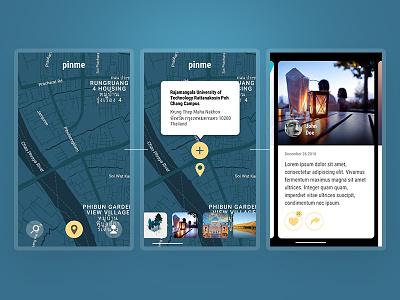 Pin interface navigation map mobile