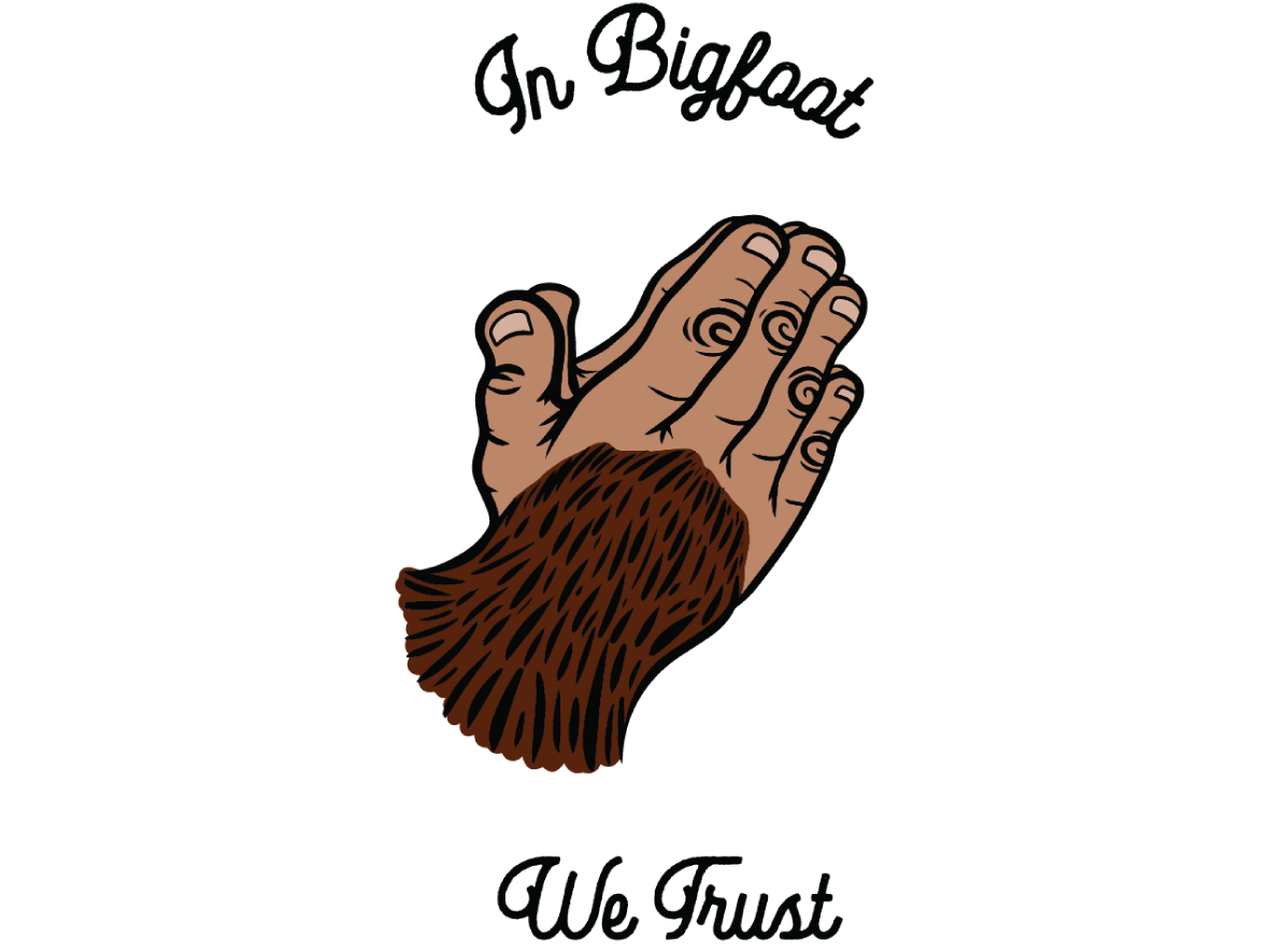 In Bigfoot We Trust pnw pacific northwest sasquatch bigfoot vector digital art icon design branding logo illustration art director design illustration