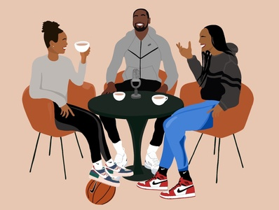 Tea with A & Phee design illustration podcast aja wilson napheesa collier nike sneakers wubble kevin durant baskbetball
