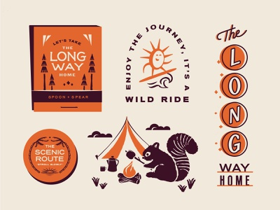 Spoon & Spear Collection matchbook camping scenic route long way home branding badge design vintage type lockup script typography print lettering illustration