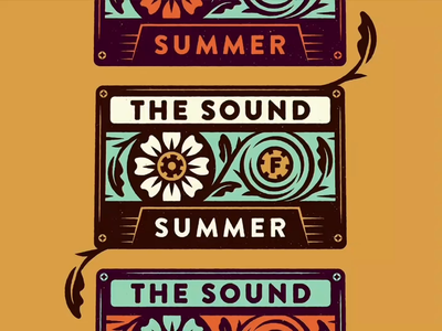 The Sound of Summer video vector cassette tape flowers summer texture retro nature typography print vintage illustration